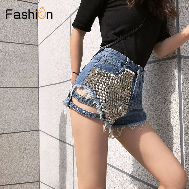 Women Black Rivet Ripped Holes Jeans   Shorts   Street Wear High Waist Girls Fringe Denim Hot   Shorts   Ladies Summer Sexy   Shorts   Femme