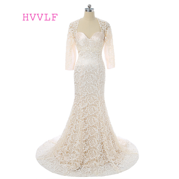 Champagne 2019 Mother Of The Bride Dresses Mermaid Long Sleeves Lace Groom Formal Long Plus Size Mother Dresses For Wedding