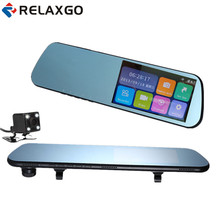 Relaxgo Touch Screen 4 3 Car DVR Dual Lens Rearview Mirror Car Camera Video Recorder Full