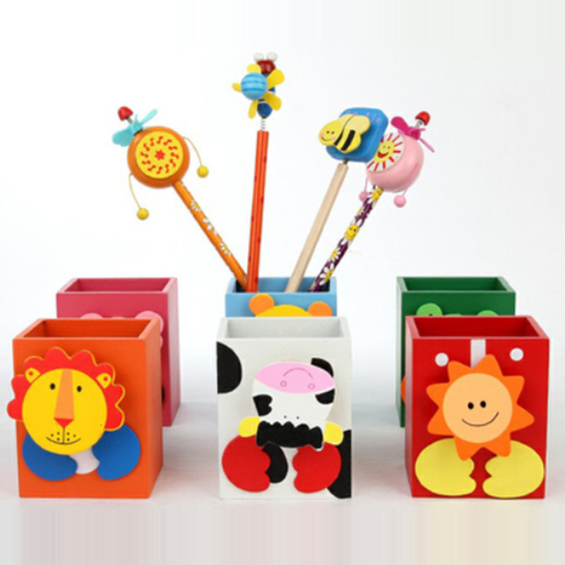 Cartoon Animal Eco Friendly Wooden Pen Vase Pencil Pot