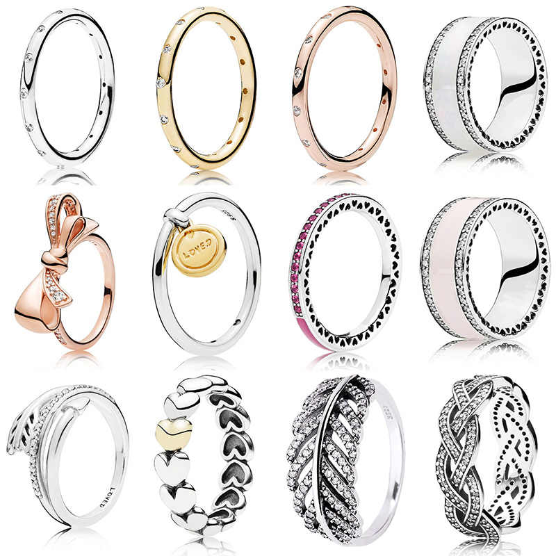 12 Style 1 Pcs Women Silver Rings With Rose Gold Bow Love Arrow Leaves Epoxy Crystal Ring For Women Jewelry Gift
