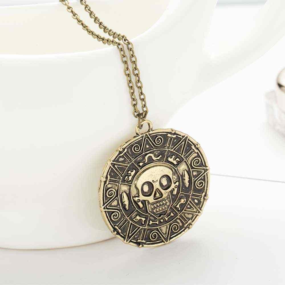 Famshin Mode-sieraden Vintage Charm Legering Azteekse Coin Hanger Ketting Pirates Of The Caribbean