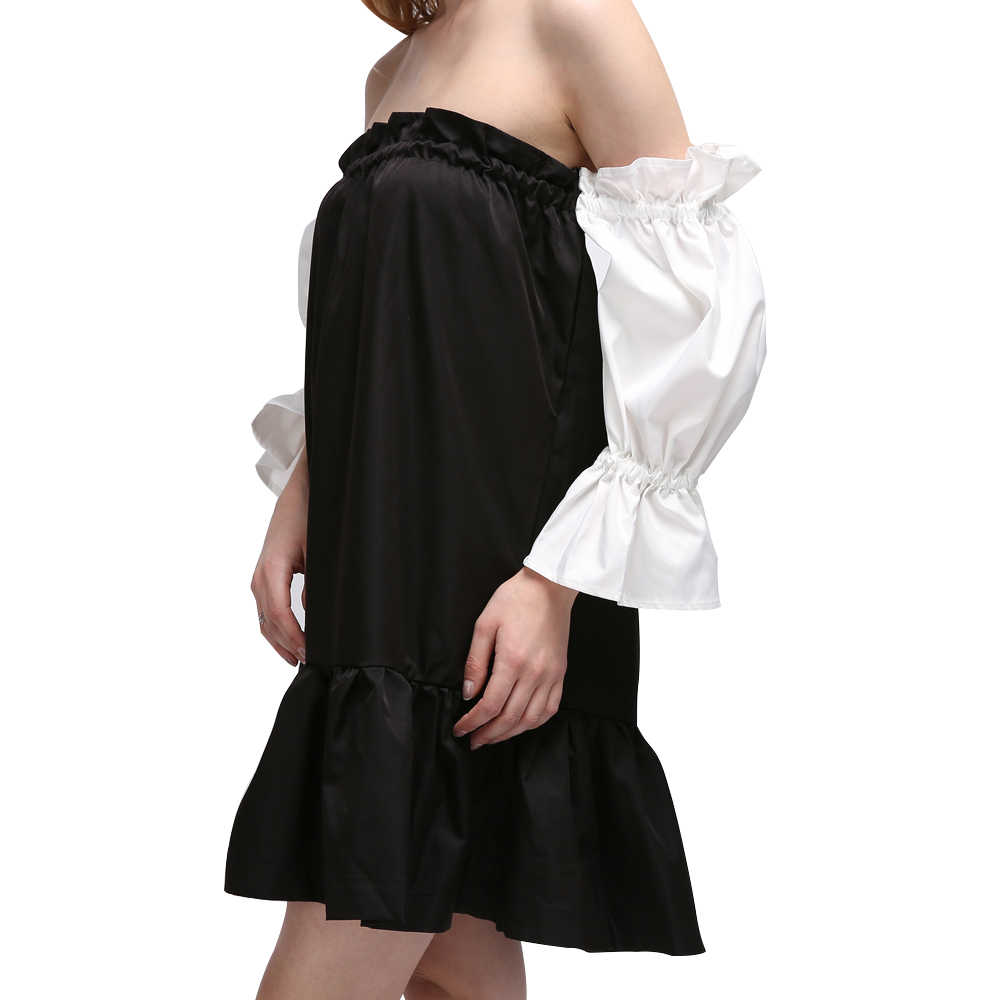 Chicever Sexy с плеча Мини платье Женский без бретелек Лето Для женщин Платья для женщин Фонари рукавами рюшами Линия одежда в Корейском стиле
