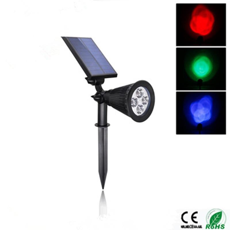ФОТО 5V 2W LED RGB Solar Lawn Lamp 4LED Garden Light Adjustable Head Spotlight 200LM Outdoor Lighting ABS + PS Black