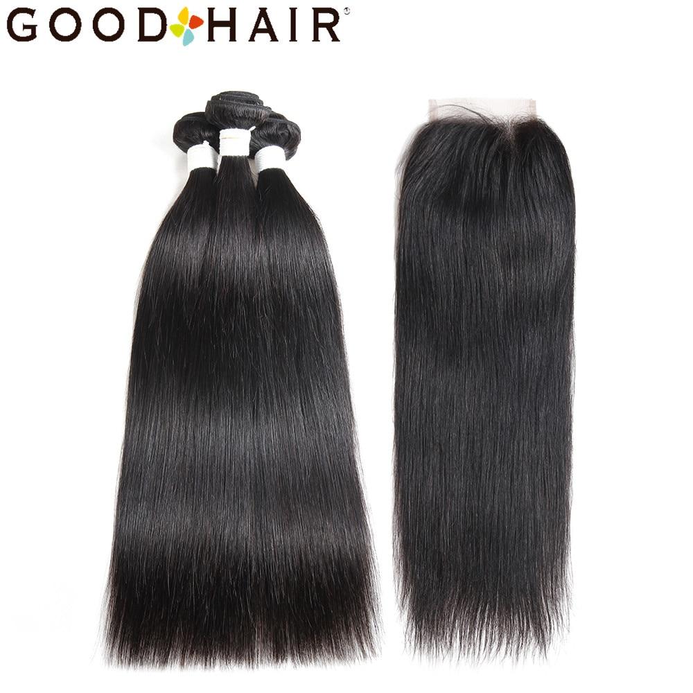 Brazilian Hair 3 Bundles With Lace Closure 100% Human Hair Extension Bundles With Closure Weave Straight Hair Non Remy GOOD HAIR