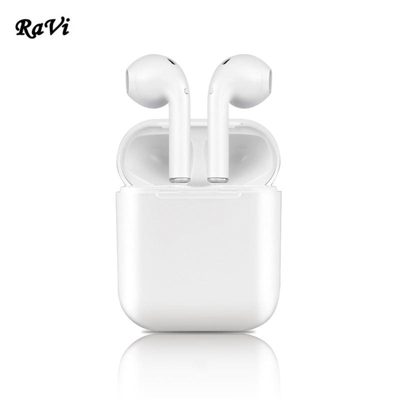 RAVI Mini Auricolari Cuffie Senza Fili Gemelli Bluetooth del Trasduttore Auricolare Per il iphone 5 6 Android di Apple Bluetooth Auricolari Senza Fili Auricolare
