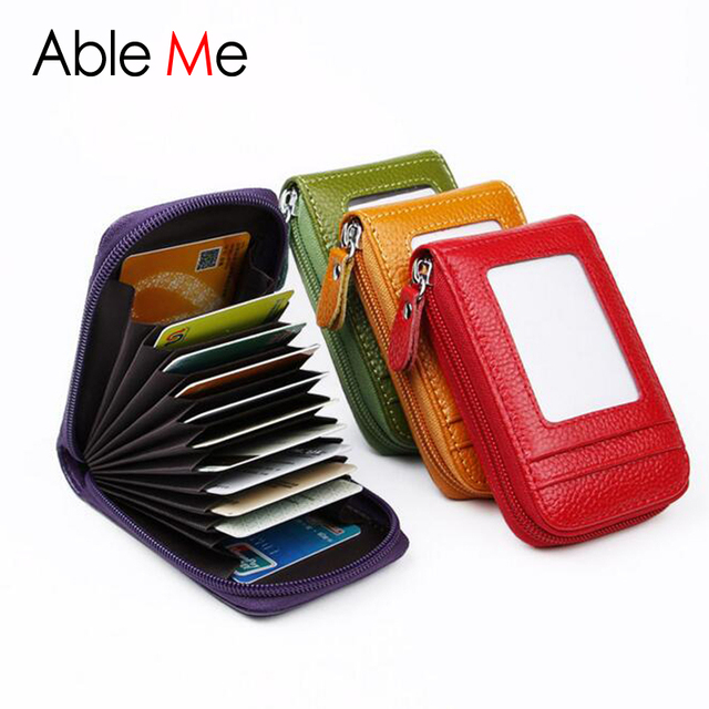 High quality leather pillow card holder wallet portable business high quality leather pillow card holder wallet portable business card protection case anti rfid nfc reheart Images