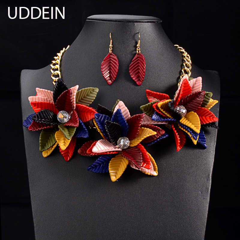 UDDEIN Color Flower Necklace & Pendant Vintage Statement Choker Collar Fashion Wedding Jewelry Set Luxury Women Necklace Collier
