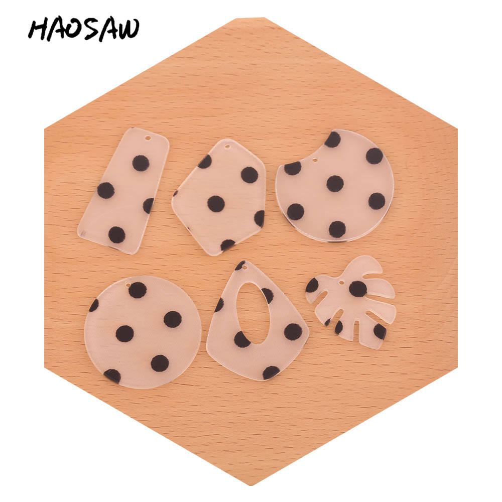 HAOSAW Choose 6Pcs/Lot Acetic Acid Charm/Cute Black Dot Design/DIY Jewelry/Jewelry Accessory/HandMade/Earring Findings