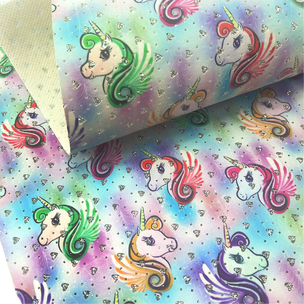 David accessories about 20*34cm unicorn synthetic leather faux Artificial Leather,DIY Sewing Fabric For Bags knot-bow,1Yc3111