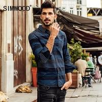 SIMWOOD 2016 New Autumn Winter Long Sleeve Casual Striped Shirts Men Fashion Cotton Brand Clothing CS1558