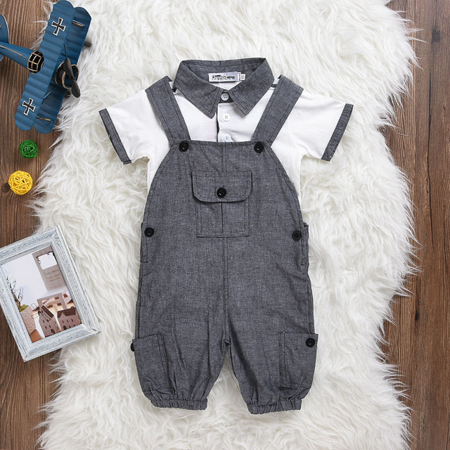 3825ff6f6 Hot Sale 2018 Summer Newborn Gentleman Sale Baby Boy Clothes Short sleeve  T-shirt+Overalls 2 Pcs/Suit Infant Clothing Set