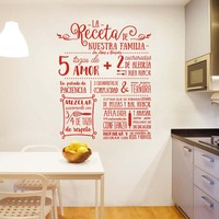 Stickers La Receta Design Vinyl Wall Decal Mural Art Wallpaper Nuestra Familia Home Decor House Decoration Poster 58 cm x 74 cm