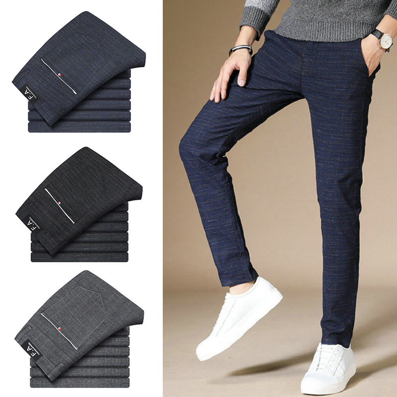 Business Casual Men Pants Cotton Blended Grid Straight Men Trousers Slim Fit Fashion Classic Man Pants