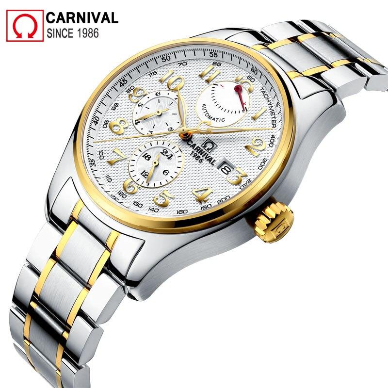 Carnaval Import Mouvement Automatique Montre Hommes Étanche 150 M 316L En Acier Inoxydable Mens Montres De Luxe Xfcs Homme Horloge kol saati