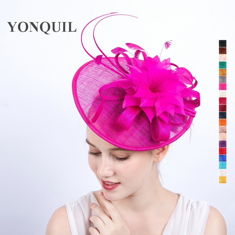 High quality 20 colors Sinamay Fascinator Hat for bridal Weeding occasion Kentucky Derby Ascot Races Melbourne Cup FREE SHIPPING free shipping high quality 2015 mini disc flower sinamay fascinator with feather for race