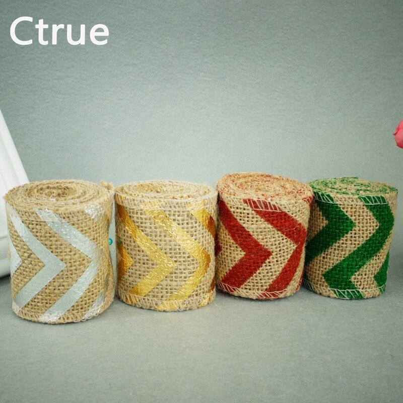 2 metros X6 cm Jute Burlap Hessian wave Ribbon Ribetes Cinta rollo - Para fiestas y celebraciones - foto 2