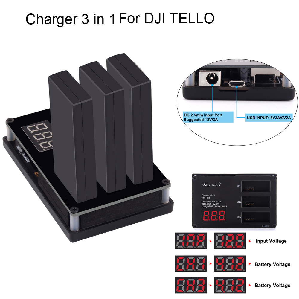 3in1 Multi Battery Charger Hub RC Intelligent Quick Charging for DJI Tello Drone 6J7 Drop Shipping