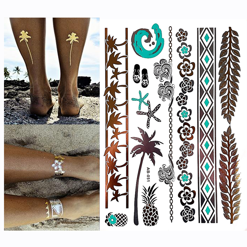 Hot Flash Metallic Waterproof Temporary Tattoo Gold Silver Men Women Henna  pineapple Mermaid Starfish Sea Tattoo Sticker Paster