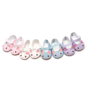 цена на 18 inch Girls doll shoes Cute baby cartoon cat shoes American new born accessories Baby toys fit 43 cm baby s147
