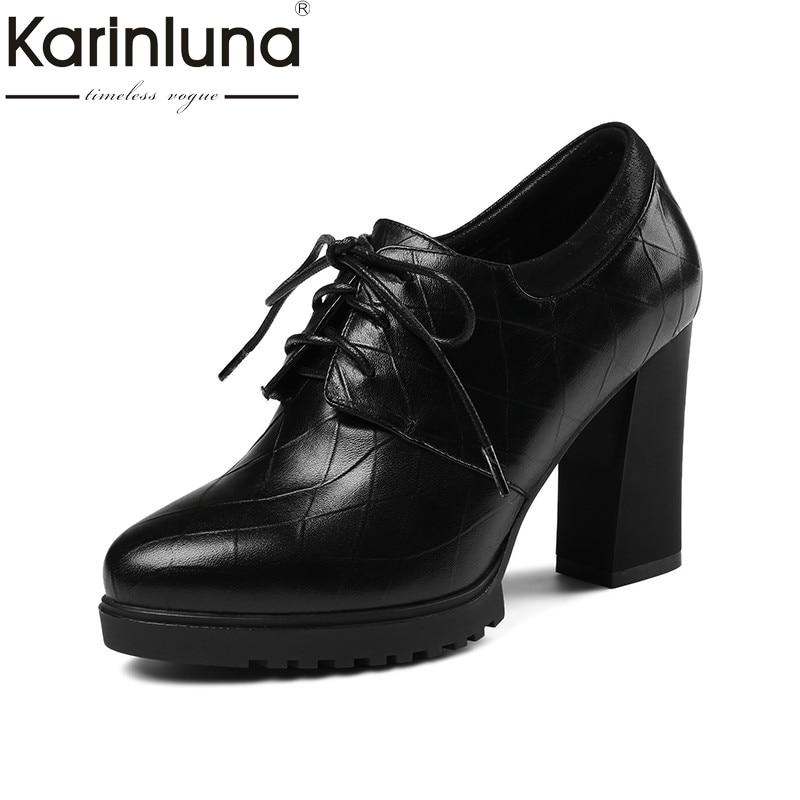 KarinLuna 2018 wiosna nowy czarne prawdziwa skóry Lace Up kobiety pompy platforma mody wysokie obcasy OL sztukateria buty kobieta w Buty damskie na słupku od Buty na AliExpress - 11.11_Double 11Singles' Day 1