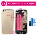 New high quality For iphone 5 5G 5S Like 6 6G Style 6mini Full Housing Cover Assembly with Flex Cable + Tools