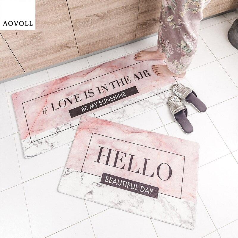 AOVOLL 2019 nouveaux tapis de cuisine Style nordique PVC tapis délicats pour cuisine porte tapis délicat mode offre spéciale Simple tapis