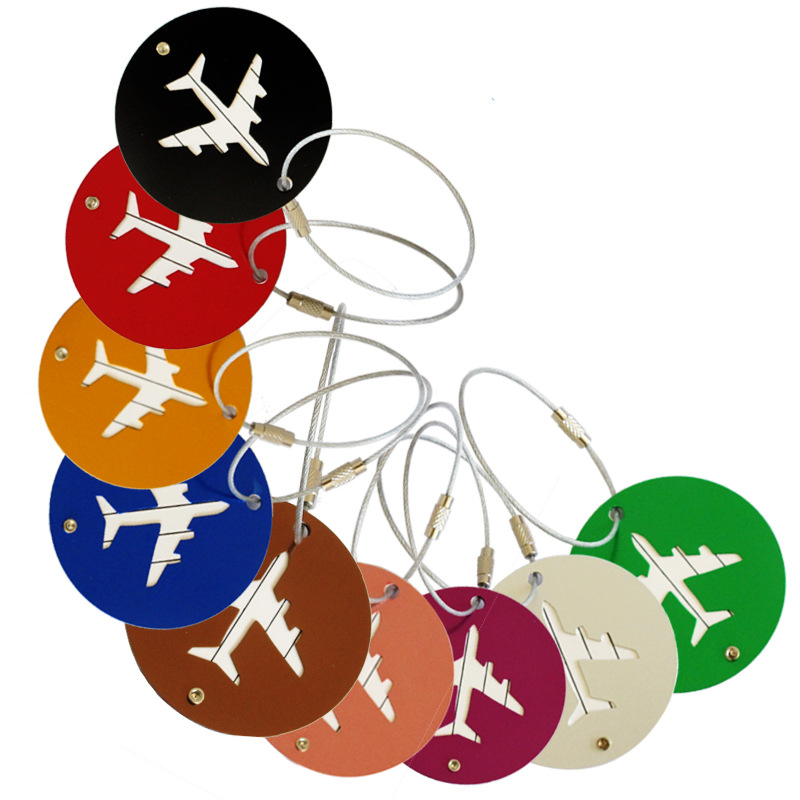 6PCS/LOT Travel Luggage Tag Boarding Aluminum Round Suitcase Tag Label Name Address Holder Hangtag luggageTag Card Travel Kit