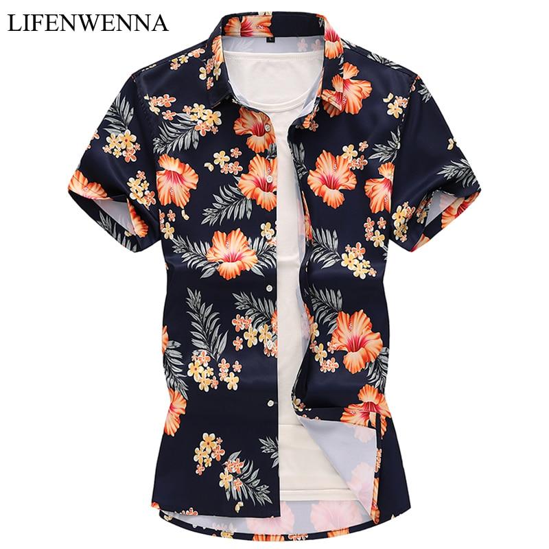 2019 새로운 패션 꽃 인쇄 짧은 소매 셔츠 남자 여름 캐주얼 망 하와이 셔츠 슬림 맞는 망 꽃 셔츠 플러스 크기 7XL