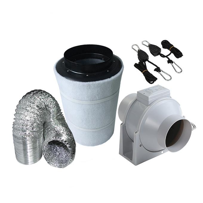 4 Inch Mix Flow Plastic Inline Exhausting Fan Carbon Air Filter Ducting for Grow Tent Kits