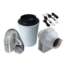 4 Zoll Mix Fluss Plastic Inline Anstrengend Fan & Kohlenstoff Filter Rohrleitungen für Wachsen Zelt Kits Pflanzen Wachsende Grüne Haus Kanal Fan