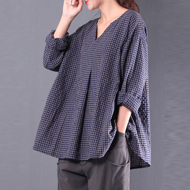 0e1b9db15d4 Women plus size blouse 2018 Vintage Flax 3 4 Sleeve O Neck Cotton Linen  Loose Tunic Shirt Top Blouse
