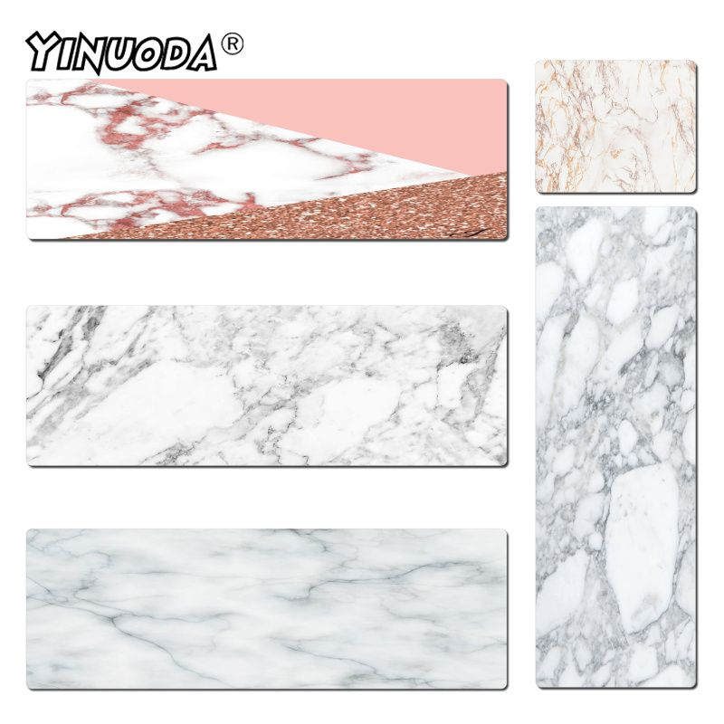Yinuoda Vintage Cool Gray and Black Marble mouse pad gamer play mats Size 300x600mm and 400x900mm