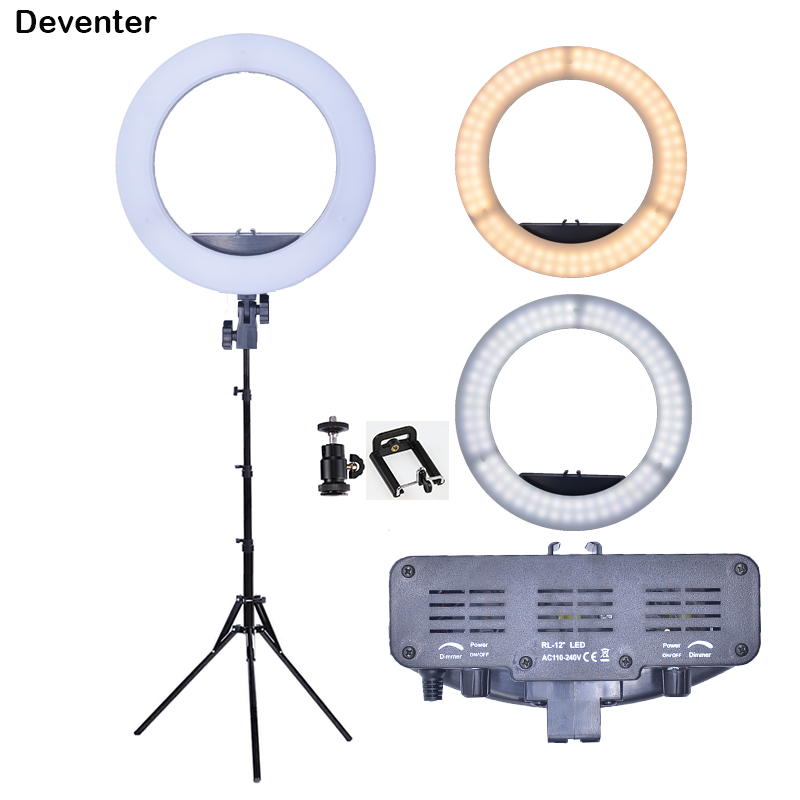Dual Control Photo Studio Ring Light 55W 240 LED Dimmable 3200 5500K Photographic Lighting Video Host