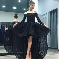 Hi Low Robe De Soiree 2019 Ball Gown Boat Neck Long Sleeves Lace Black Sexy Long Prom Dresses Prom Gown Evening Dresses