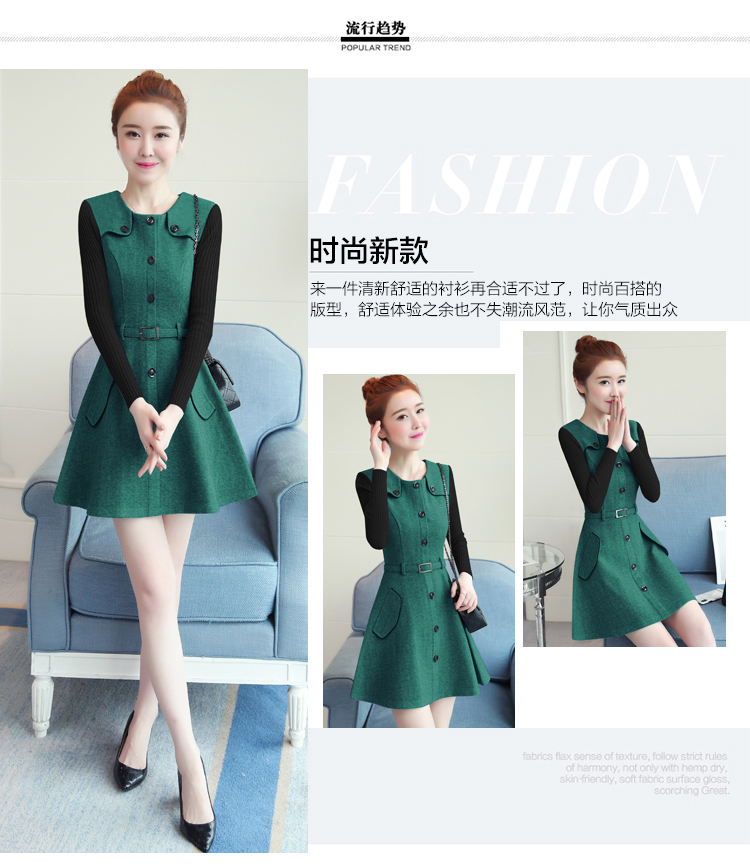 winter new round collar single-breasted cloth dress belt buttons A word women dresses Korean fashion outfit lady vogue vestido 7
