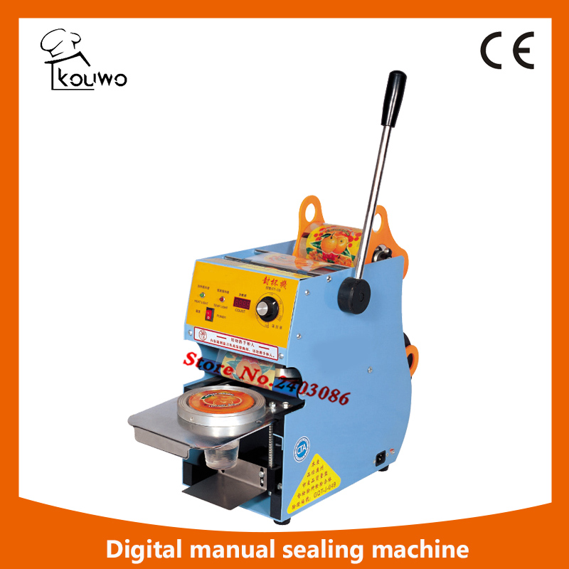 hand press electric food processing machine plastic heat Yogurt Bubble tea juice cup digital sealing machine for sale kw f01s commercial use digital manual fruit juice food plastic cup sealing packing machine for beverage