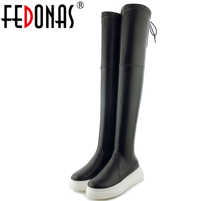 FEDONAS Brand Women Platforms Over The Knee High Boots Lace Up Slim Long Party Club Dancing Shoes Woman High Ladies Shoes Boots FEDONAS Brand Women Platforms Over The Knee High Boots Lace Up Slim Long Party Club Dancing Shoes Woman High Ladies Shoes Boots