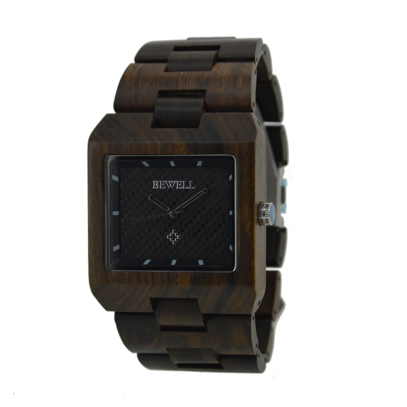 купить BEWELL New Quartz Sandal Wood Watch for Man Watches with Fashion Sport Rectangle Wrist Watch Masculino Clock with Box 016A недорого