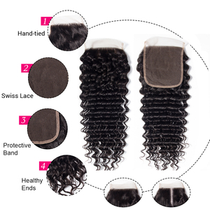Image 2 - Celie Hair 6x6 Lace Closure Brazilian Deep Wave Closure Pre Plucked Remy Swiss Lace Human Hair Closure Bleached Knots 10 20 inch