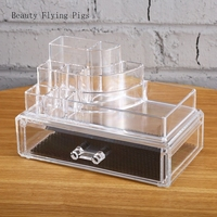 Ins crystal transparent desktop drawer acrylic cosmetic storage box dressing table skin care products lipstick rack trumpet
