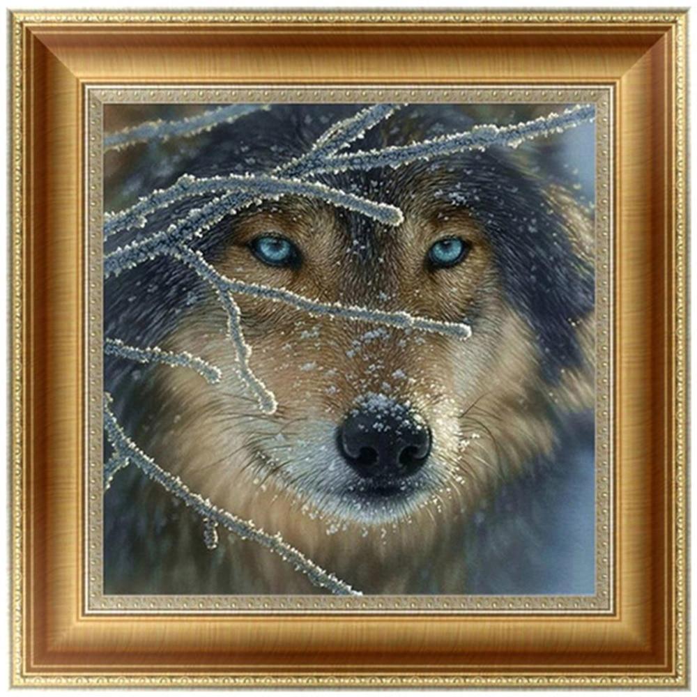 DIY 5D Diamonds Embroidery Wolf Animal Round Diamond Painting Cross Stitch Kits Mosaic Home decor 30*30cm