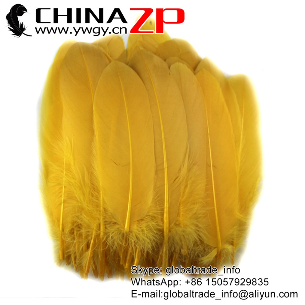 CHINAZP Factory 100% Exporting 100pieces/lot Selected Top Quality Dyed Gold Goose Satinettes Loose Feathers