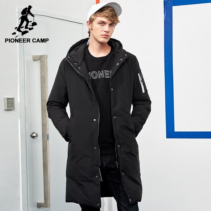 Campamento de pioneros impermeable chaqueta caliente del invierno de los hombres de la marca ropa de abrigo largo y grueso masculino calidad de primavera con capucha parkas hombres AMF705299