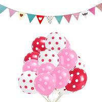 100 قطع نقطة كرات بالون الهواء مع الوردي الحب العلم راية مجموعة احتفال الأطفال حفلة الزفاف الديكور متعدد الألوان