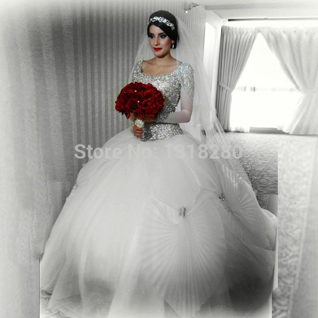 W148 Sexy Ball Gown Long Sleeve Bridal With Beaded Top Tie Back Crystal Wedding Dress