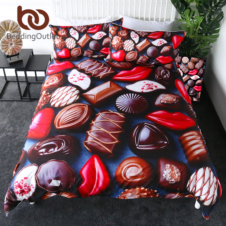 BeddingOutlet Chocolate Bedding Set Sweet Candy Duvet Cover Queen Red Lips Girls Quilt Cover Dessert Bed Set 3pcs parrure de litBeddingOutlet Chocolate Bedding Set Sweet Candy Duvet Cover Queen Red Lips Girls Quilt Cover Dessert Bed Set 3pcs parrure de lit