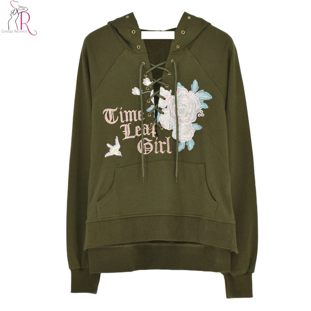 Green Lace Up Front Rose Embroidered Pouch Pocket Hoodie Women Drop Shouler  Long Sleeve Spilt Side Loose Sweatshirt 063129d8b