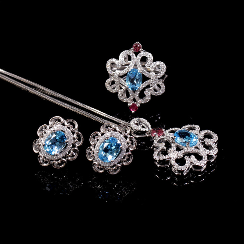bd725434e Image gemstone jewelry set hot sale MEDBOO new style 925 silver natural  blue topaz adjustable ring
