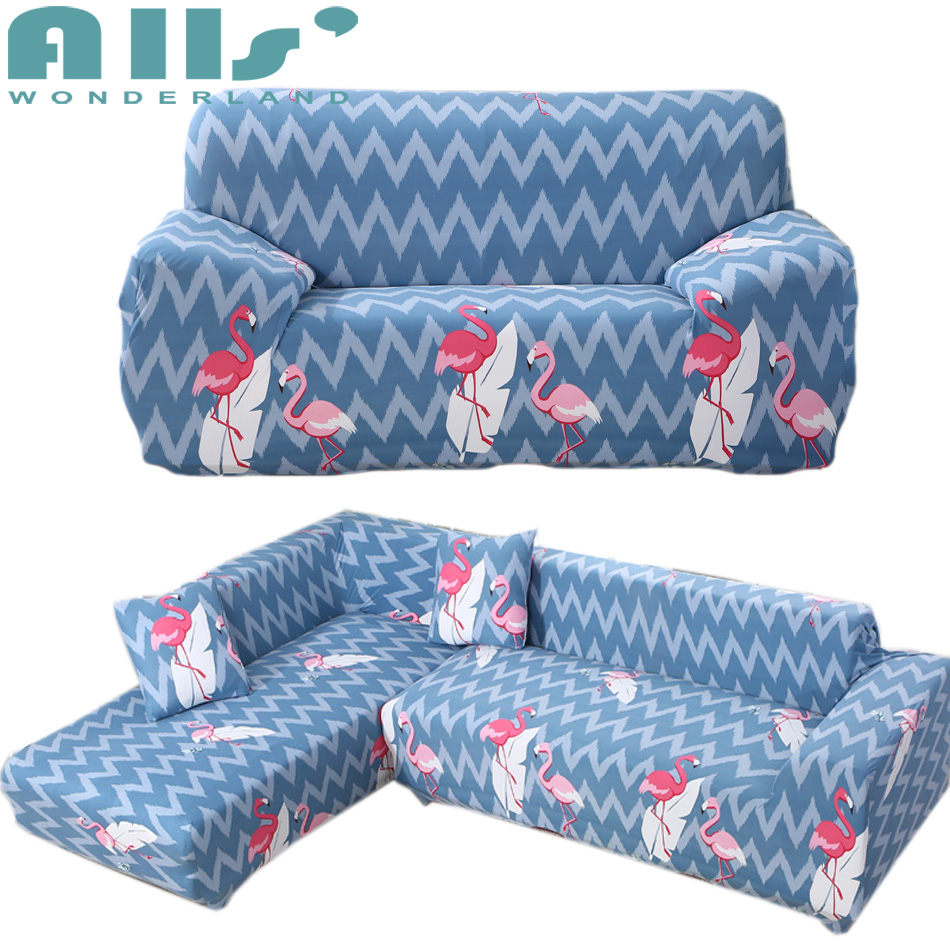 Pink Slipcover Chair Tall Wingback Flamingo Pattern Blue Couch Cover Sofa Slipcovers Reclining Protector Decorative Dollhouse Furniture